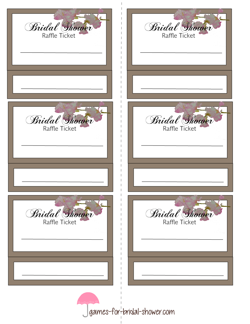Games For Bridal Shower.com  Free Raffle Templates