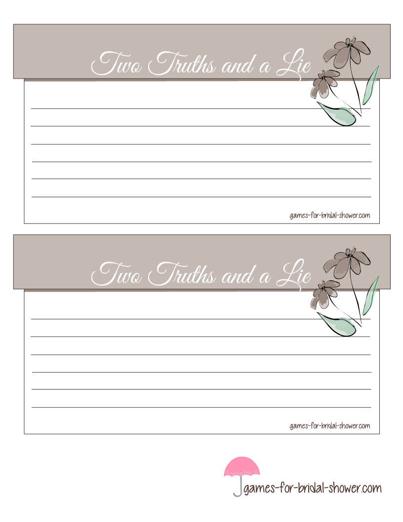 free printable two truths and a lie bridal shower game cards. Black Bedroom Furniture Sets. Home Design Ideas