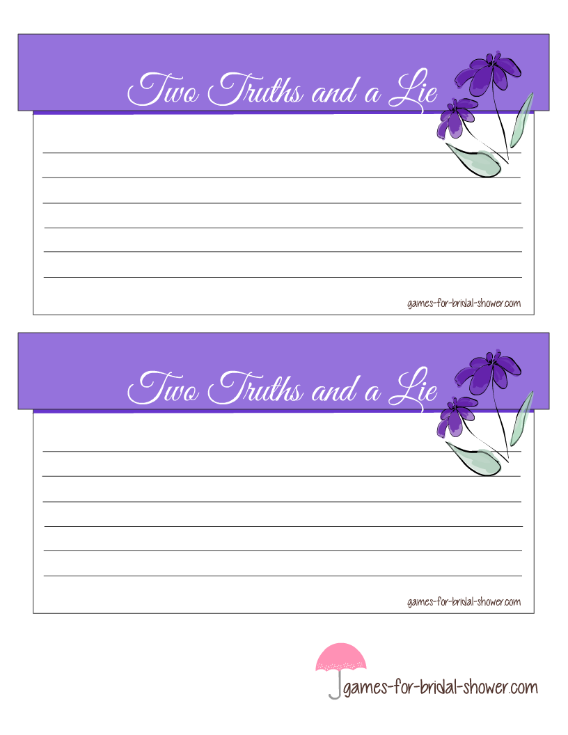 Free Printable Two Truths and a Lie Bridal Shower Game Cards