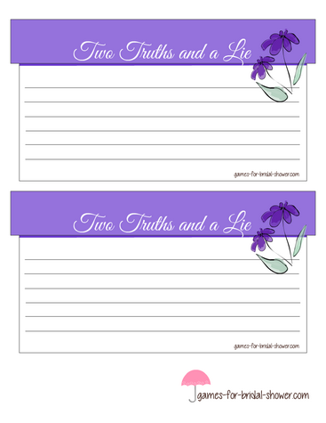 two truths and a lie game in lilac color