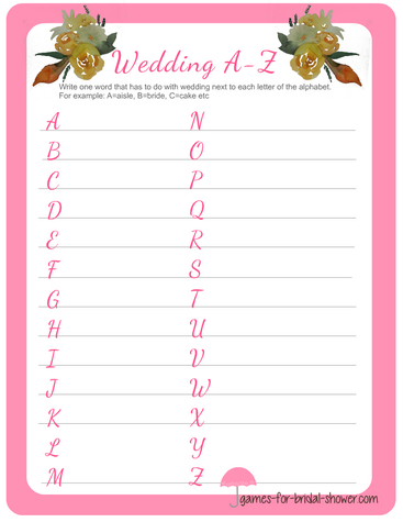 free printable wedding a to z game in pink color