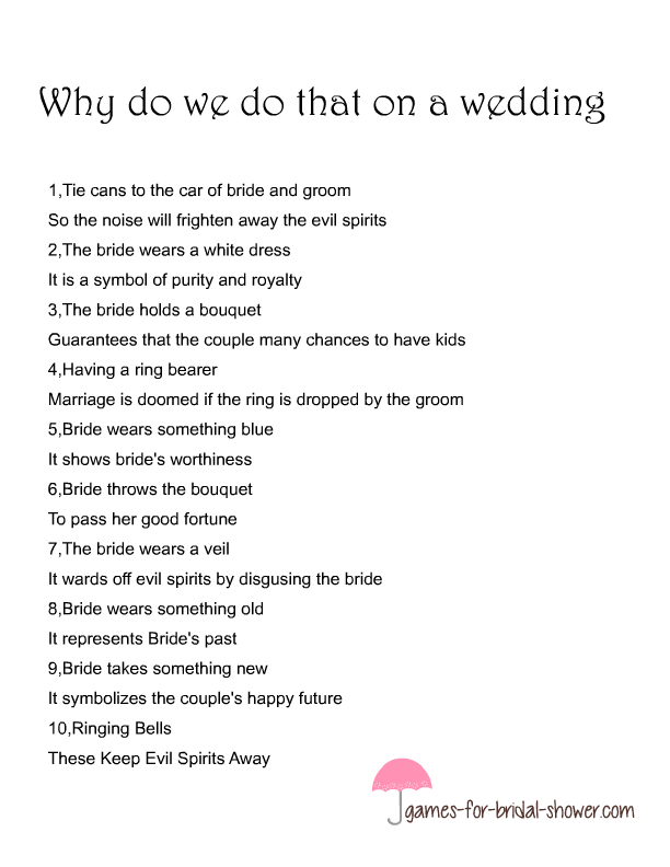 Free Printable Why Do We Do That Game For Bridal Shower
