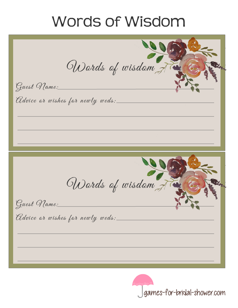 Free printable bridal shower words of wisdom cards for Templates for bridal shower games