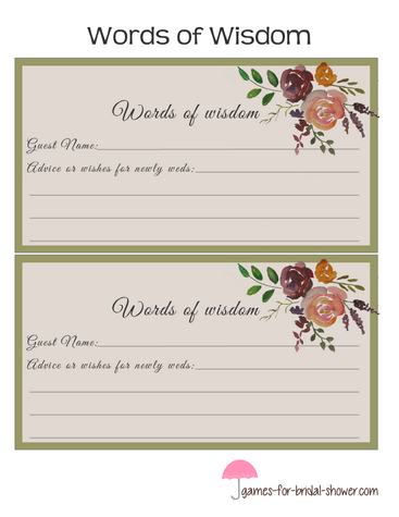 free printable bridal shower words of wisdom cards