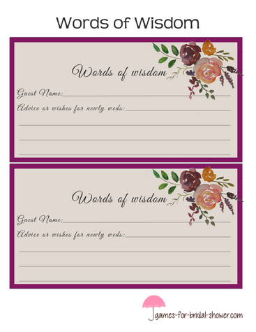 words of wisdom cards printable in lilac color