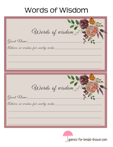 words of wisdom for bride and groom in pink color