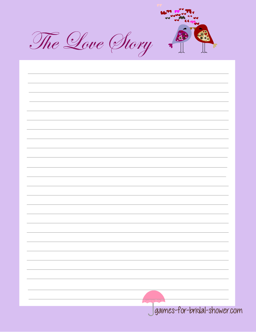 write a love story free printable bridal shower game