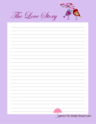free printable write a love story game for bridal shower
