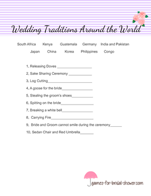 Free Printable wedding traditions around the world game in purple color