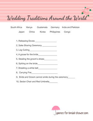 Free printable wedding traditions around the world game