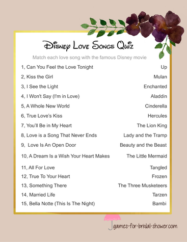 Disney love songs quiz, free printable