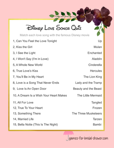 Free printable disney love songs game
