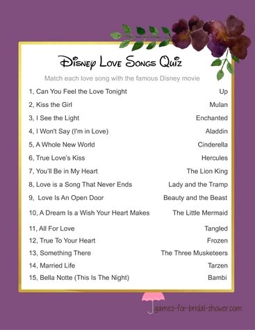 disney love songs quiz in purple color