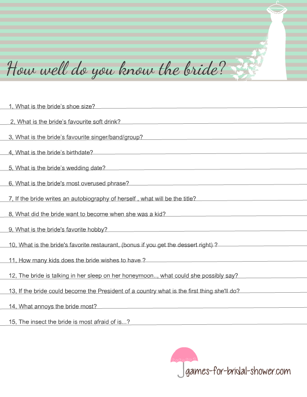 photograph about Free Printable Bridal Shower Games How Well Do You Know the Bride titled No cost Printable How Effectively Do Oneself Notice the Bride? Sport