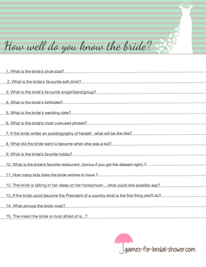 How well do you know the bride? Free Printable game