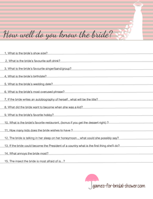 How well do you know the bride printable in pink color