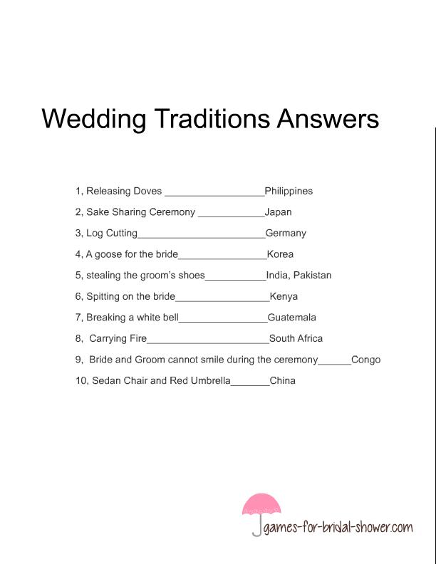 Free Printable Wedding Traditions Around The World Game E