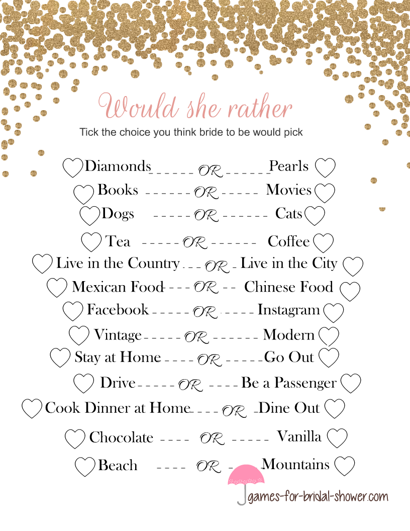 image relating to Printable Bridal Shower Games named Totally free Printable Would She In its place Bridal Shower Recreation