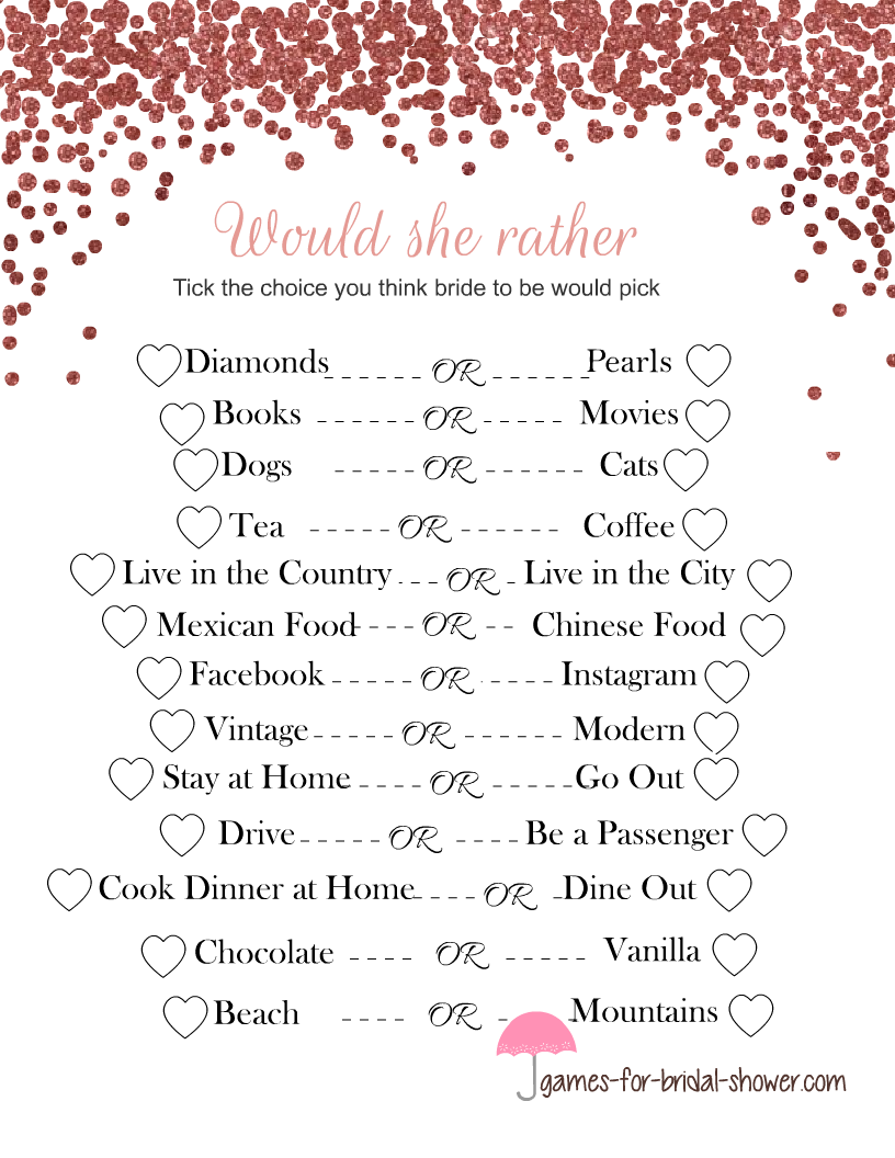 picture regarding Printable Wedding Shower Games named Absolutely free Printable Would She Fairly Bridal Shower Match