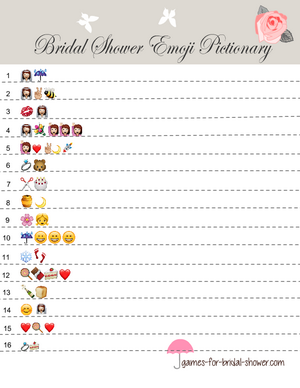 bridal shower emoji pictionary game in taupe color