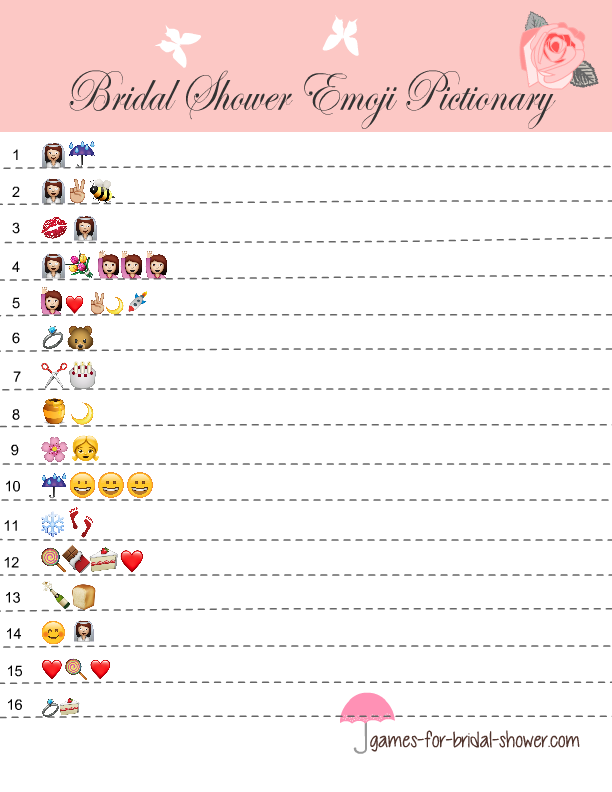 image relating to Guess the Disney Movie Song Printable known as No cost Printable Bridal Shower Emoji Pictionary Quiz