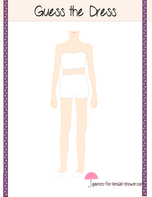 Guess the dress bridal shower game printable