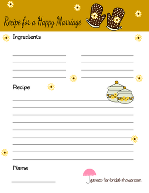 happy marriage recipe card in mustard brown color