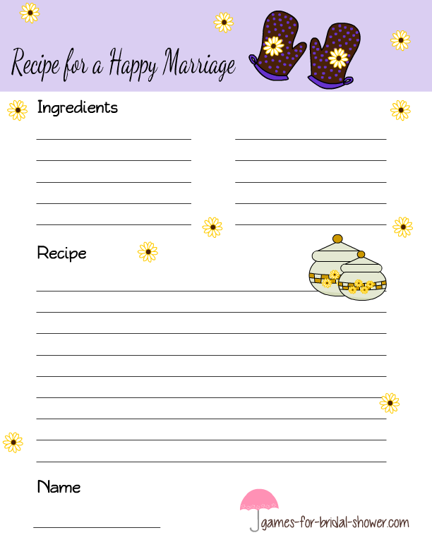 image about Free Printable Recipe Cards for Bridal Shower called Totally free Printable Recipe for a Pleased Connection Playing cards