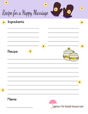 Recipe for a happy marriage card lilac
