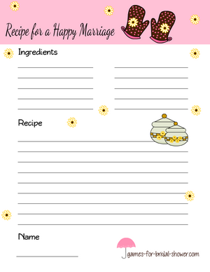 recipe for a happy marriage bridal shower game in pink color