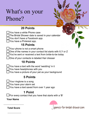 What's in your phone bridal shower game in lilac color