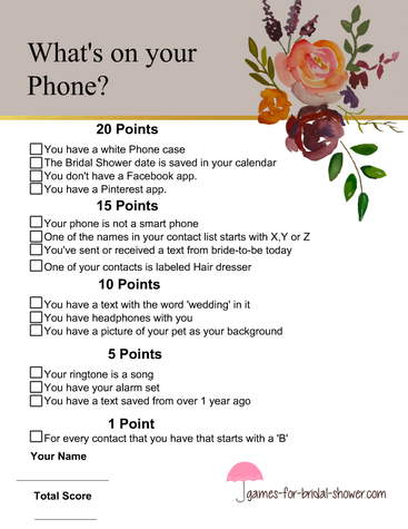 What's in your phone bridal shower game in taupe color