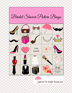 Free printable bridal shower picture bingo game in pink color