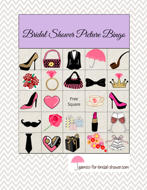 Bridal shower picture bingo printable game in lilac