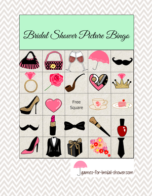 Free printable bridal shower picture bingo in mint color
